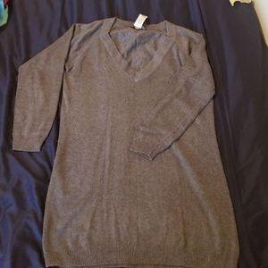 Grey v-neck Mango sweater dress size M